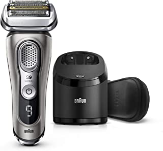 Braun Electric Razor for Men, Series 9 9385cc, Electric Shaver, Pop-Up Precision Trimmer, Rechargeable, Cordless Foil Shaver, Clean & Charge Station and Leather Travel Case, Graphite