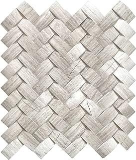 Mystic Cloud Herringbone Gray Stone 12 in. X 12 in. X 10mm Mesh Backing Backsplash Tile