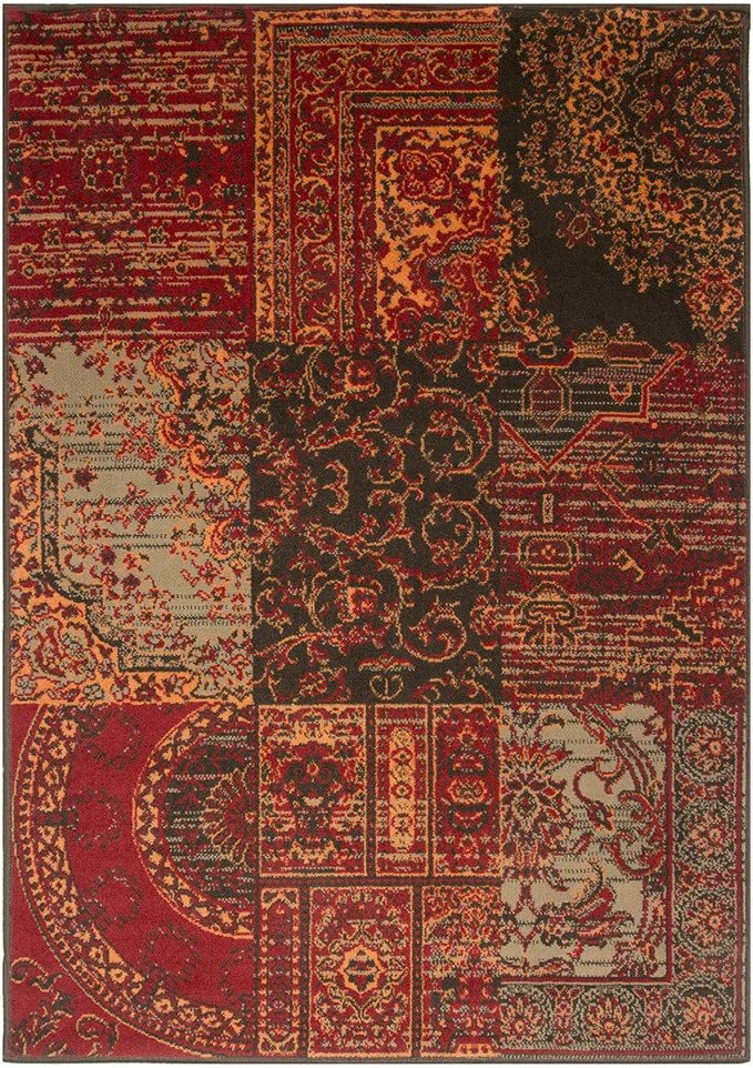 Milan Warm Red Brown Burnt Orange Gray Rug Traditional Living Room Area Rugs 2 6 X 5 0 Furniture Decor
