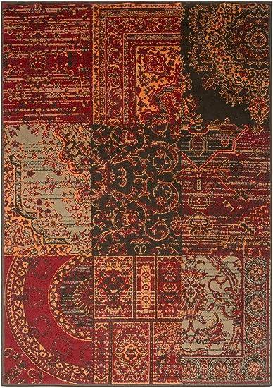 Amazon Com Milan Warm Red Brown Burnt Orange Gray Rug Traditional Living Room Area Rugs 5 3 X 7 7 Furniture Decor