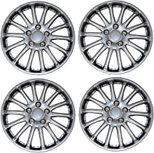 TuningPros WSC3-007S15 4pcs Set Snap-On Type (Pop-On) 15-Inches Metallic Silver Hubcaps Wheel Cover