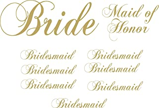 Pack of 9 Vinyl Wedding Iron on Transfer (1 Bride) (1 Maid of Honor) (7 Bridesmaid) (Gold)