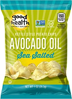 Good Health Kettle Style Potato Chips, Avocado Oil, Sea Salt, 1 oz. Bag, 30 Pack – Gluten Free, Crunchy Chips Cooked in 10...