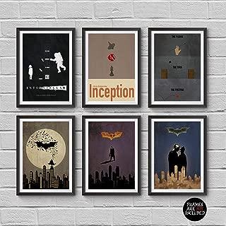 Christopher Nolan Minimalist Poster Set of 6 Films Interstellar Batman Begins The Dark Knight The Dark Knight Rises Inception The Prestige Print Wall Artwork Home Decor Hanging Cool Gift