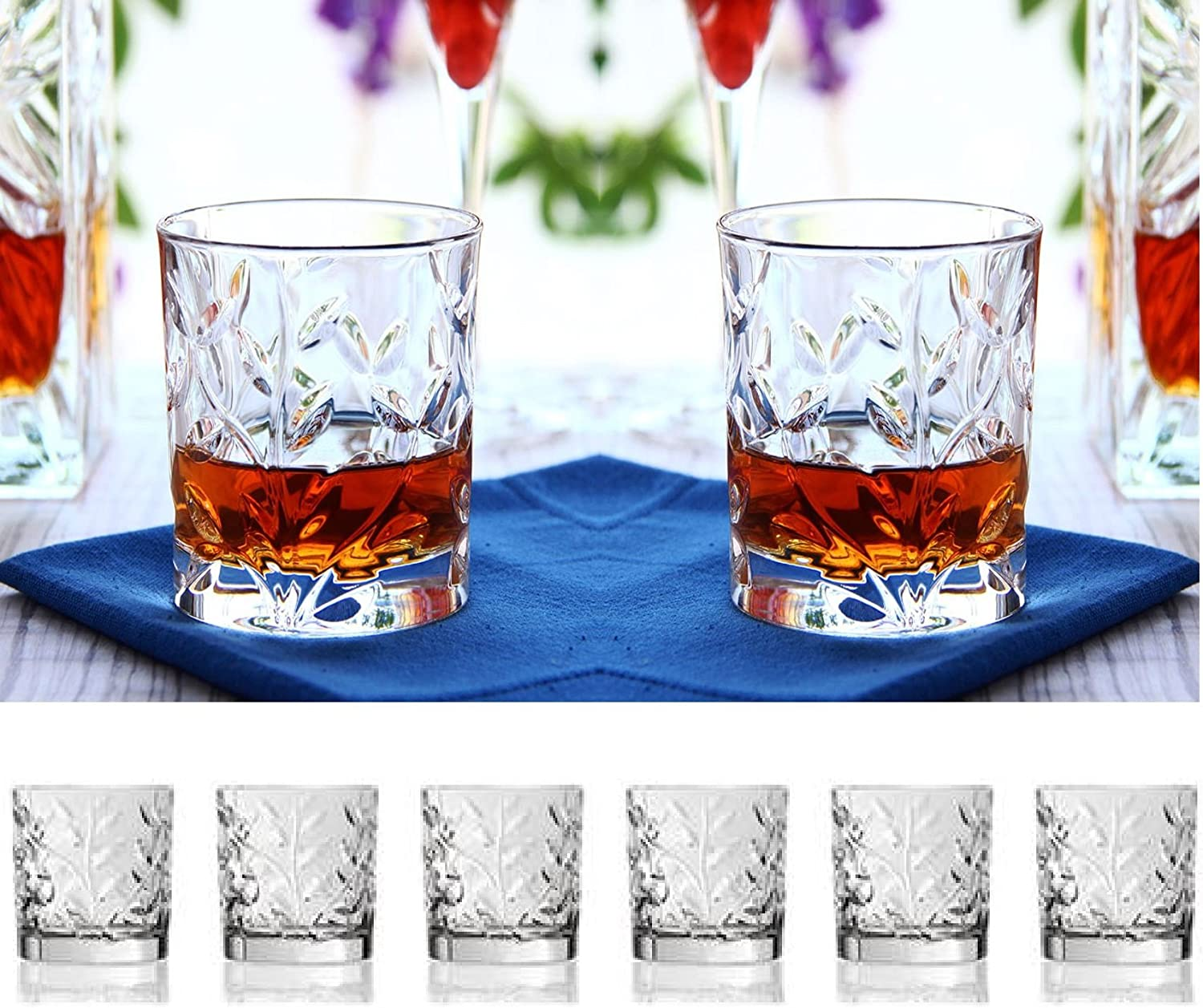 Set Of Six Whiskey Scotch Bourbon Crystal Double Old Fashioned Glasses,With Leaf Twig Design, DOF Tumbler Glasses Holds 11oz