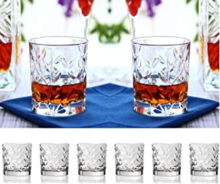Set Of Six Whiskey Scotch Bourbon Crystal Double Old Fashioned Glasses,With Leaf/Twig Design, DOF Tumbler Glasses Holds 11oz