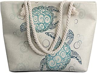 Extra Large Womens Canvas Beach Tote Bag with Top Zipper Closure and Waterproof