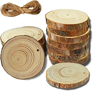 YuQi 12PCS Natural Unfinished Wood Round Slices with Predrilled Holes, 2.8-3.2 Inch Wooden Coasters Circles Pieces with Bark Log for DIY Arts Crafts Ornaments & Wedding Favors & Gifts Tags & Christmas
