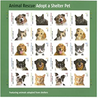 Animal Rescue Sheet of Twenty 44 Cents Stamps Scott 4451-60 By USPS