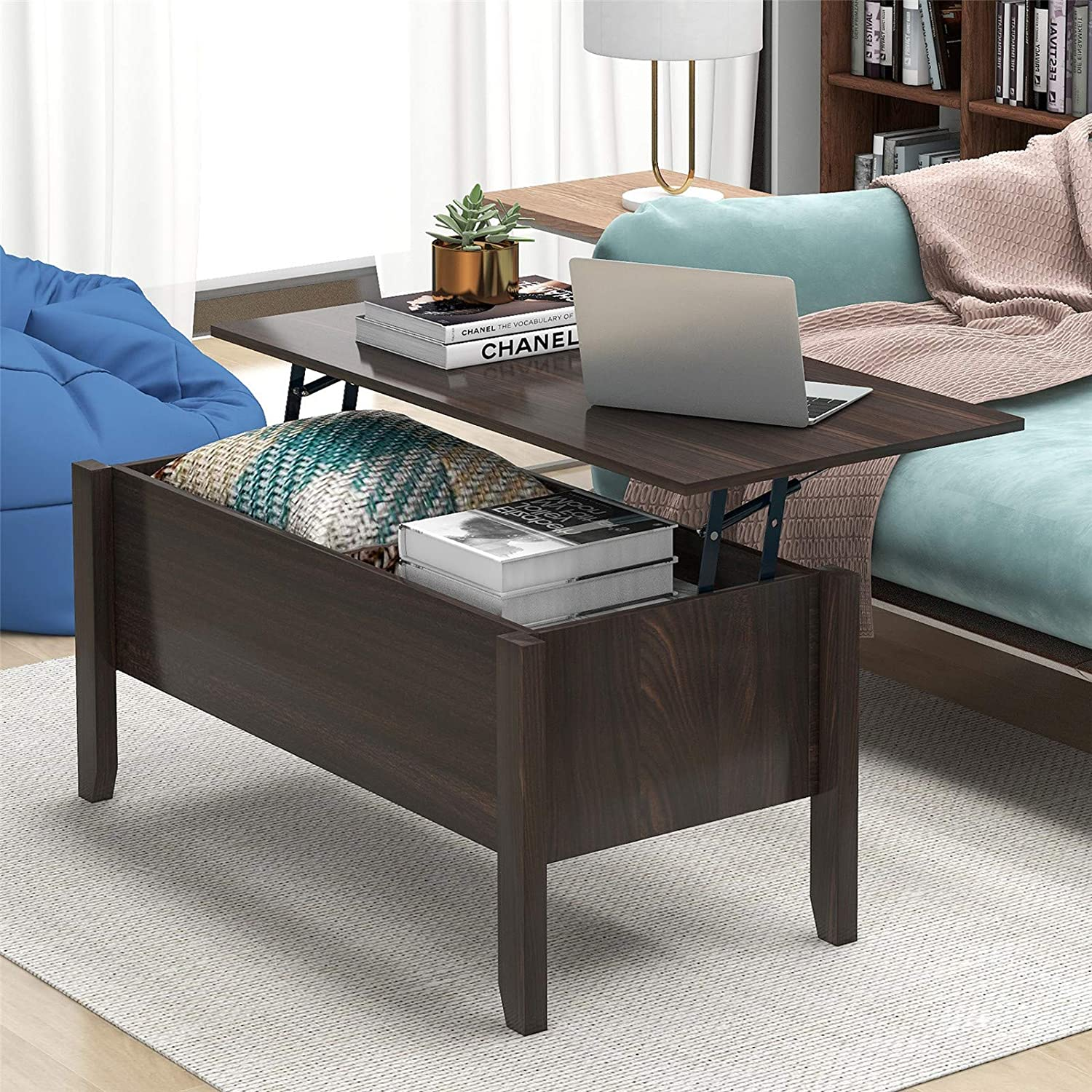 Lift 全国どこでも送料無料 Top Coffee 通販 激安◆ Table with Hidden Woo Solid Compartment Storage