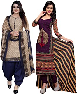 Rajnandini Women's Beige And Purple Cotton Printed Unstitched Salwar Suit Material (Combo Of 2) (Free Size)