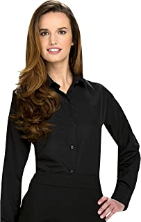Luxe Microfiber Women's Fitted Button-Down Shirt Long Sleeve Point Collar - Style Valarie