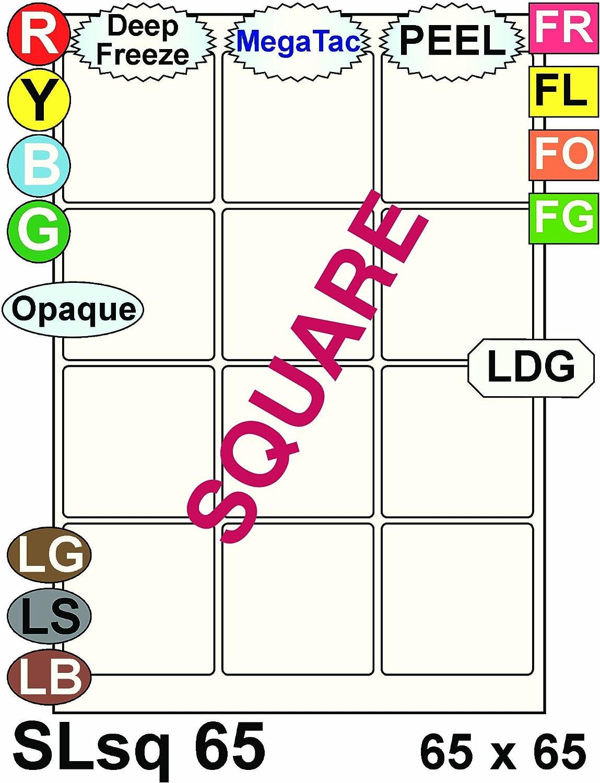 Multi Purpose Weiß Permanent Square Labels - 12 Labels Per Sheet - 100 Sheets 65mm x 65mm B00BXE6PS8  | Starke Hitze- und Abnutzungsbeständigkeit