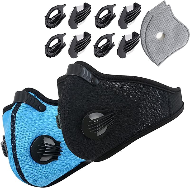 Novemkada Dustproof Masks 2 Pack Activated Carbon Dust Mask With Extra Filter Cotton Sheet And Valves For Exhaust Gas Pollen Allergy PM2 5 Running Cycling Outdoor Activities