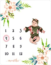Baby Monthly Milestone Blanket Girl | Large Soft Fleece Floral Blanket | Newborn Baby Photo Prop | Perfect for New Mom Shower Gift | Month Frame Included to Mark Age