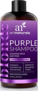 ArtNaturals Purple Shampoo for Blonde Hair – (16 Fl Oz / 473ml) – Protects, Balances and Tones – Bleached, Color Treated and Silver Hair