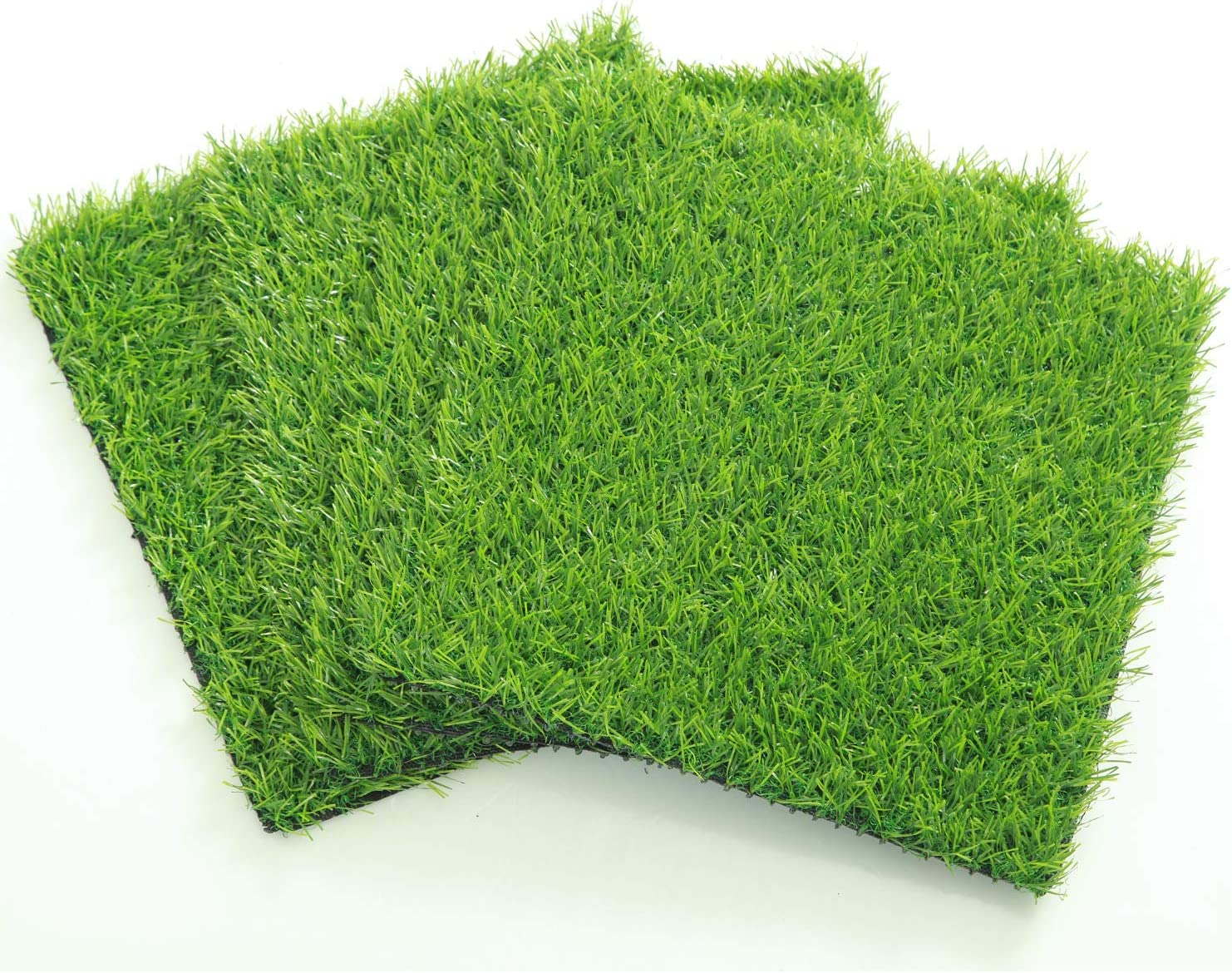 ECO MATRIX Artificial Grass Placemats Fake Grass Suqare Mat Tiles Small Synthetic Grass Patch Lawn Turf for Miniature Ornament Garden Dollhouse DIY Decoration ( 4 Pcs 12''x 12'')