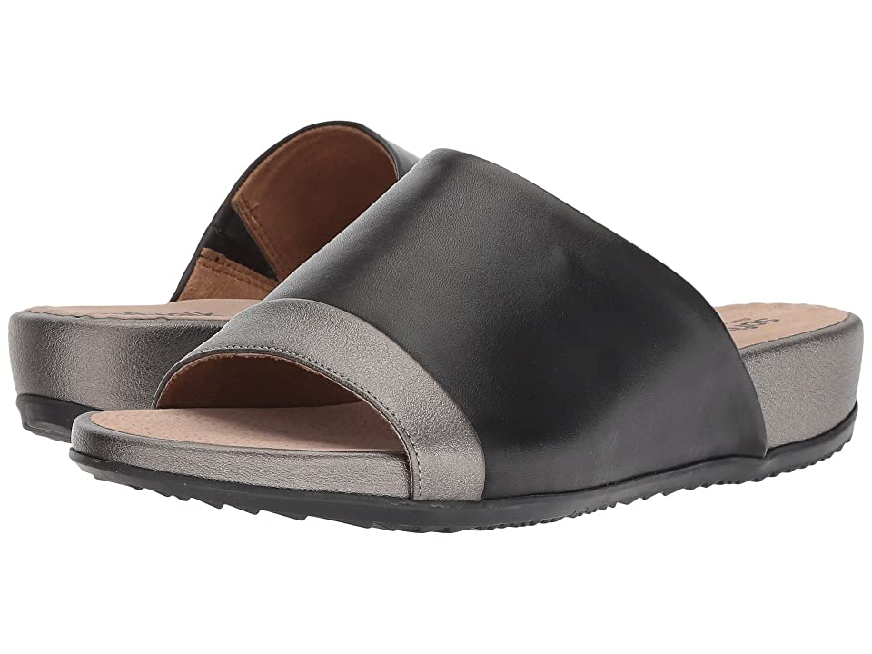 SoftWalk Del Mar (Black/Pewter Soft Leather) Women