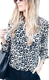 85796576d169 ECOWISH Womens V Neck Leopard Casual Print Tunic Long Sleeve Button Down  Shirt Tops