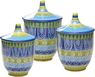 Certified International Tapas 3-Piece Canister Set, 44-Ounce, 64-Ounce and 96-Ounce