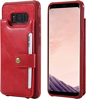 Galaxy S8 Leather Case,Wallet Red Protective Wrist Hand Cash Credit Card Slot ID Window Durable Women Men Magnetic Snap with Stand Cover Shell for Samsung S8 5.8