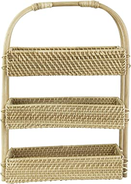 Creative Co-Op DF3161 Decorative Handwoven Rattan 3-Tier Tray Wicker Non-Food Storage, Beige