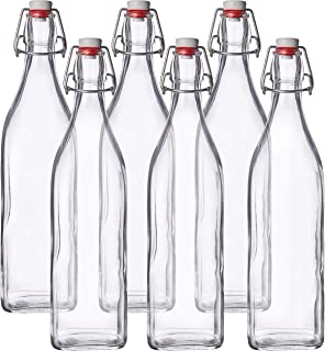 Bormioli Rocco Swing Top Round Glass Bottle, 6, Clear