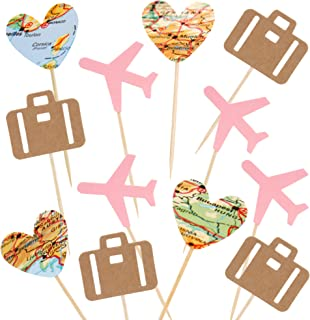 24 Pack Heart Map Luggage Airplane Cupcake Toppers Plane for Travel Theme Baby Shower Birthday Party Cake Decor