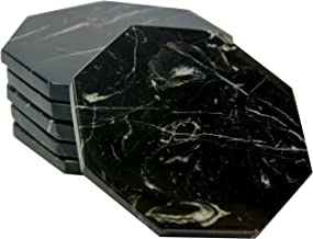 CraftsOfEgypt Set of 6 - Black Marble Stone Coasters – Octagonal Polished Coasters – 3.5 Inches (9 cm) in Diameter – Protection from Drink Rings