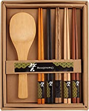 HOKIPO® 5 Pairs Wooden Bamboo Chopsticks with Rice Serving Spoon