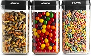Gourmia GEC9785 Airtight Food Storage Containers, 3 Pack, 2.3 Liter – Stackable, Easy Lock Clear Organizers with Airtight Lids - Preserves and Keeps Dry Goods Fresh and Dry – Space Saving, BPA Free