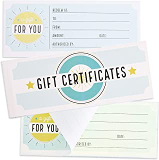 Juvale Blank Carbonless Gift Certificate Vouchers for Business, Birthday, 50 Sheets, 8.5 x 3.5 Inches