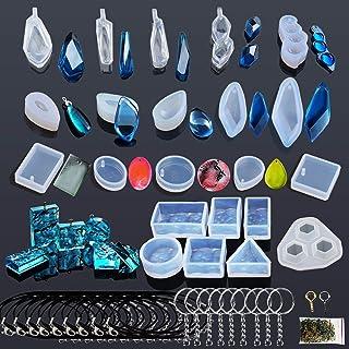 Woohome 43 PCS Silicone Moule pour Bijoux, Modèles Moule Resine et Outils Réglés avec des Epingles pour Boucle D'oreille C...