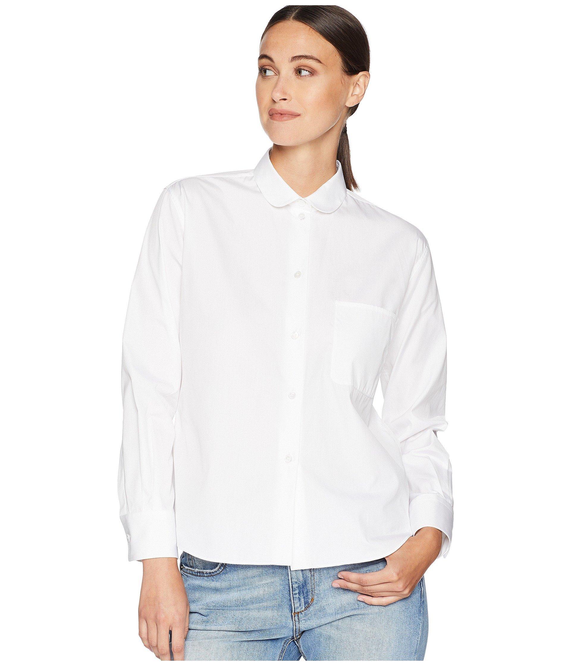 The Sleeve Long Shirt Front Sander Round White Jil Collar Navy On Pocket qwHgCqxf