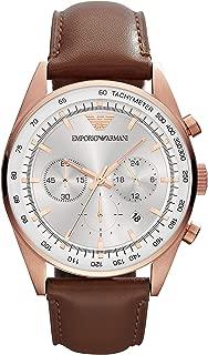 Emporio Armani Men's AR5995 Brown Leather Strap Silver Dial Watch
