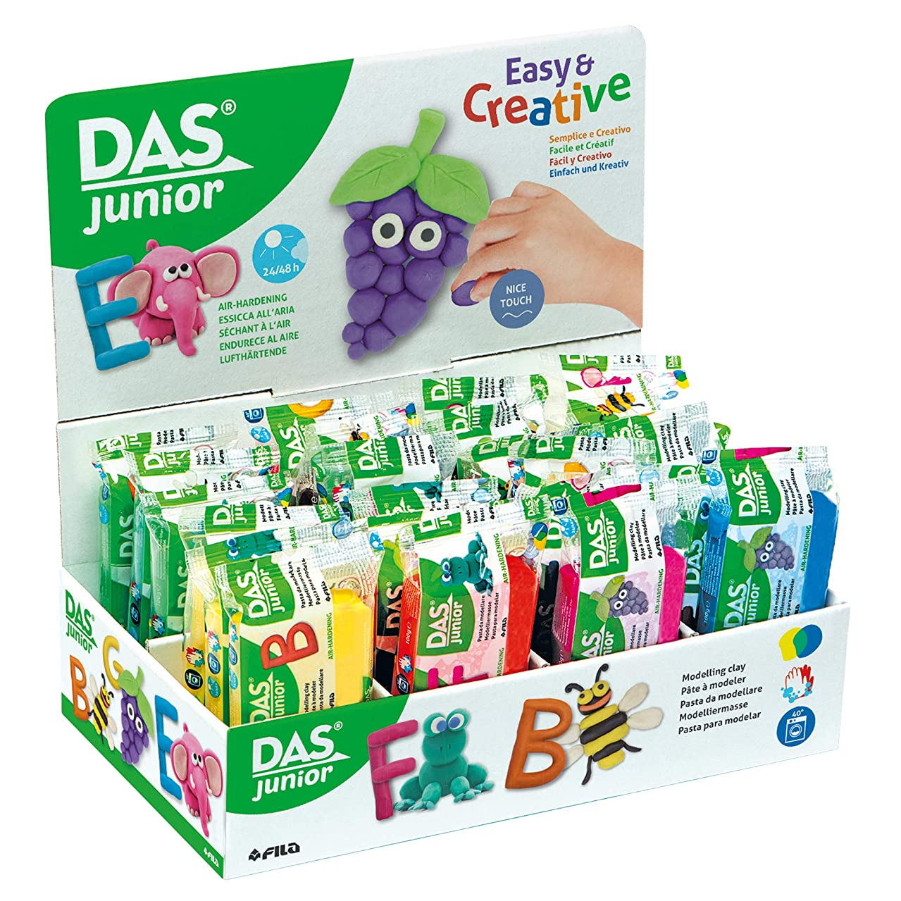 DAS Jr. Air-Hardening Modeling Clay Material, 24-Pack 100 Gram Blocks, Assorted Colors, 24-Blocks (349400)