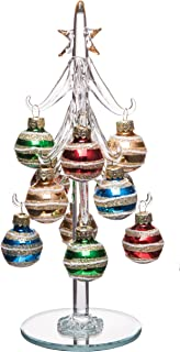 Elegant Glass Christmas Tree, Small Glass Table Top Decoration with Removable Sphere Ornaments, Multicolored Orbs, Holiday Season Décor, 8-inch