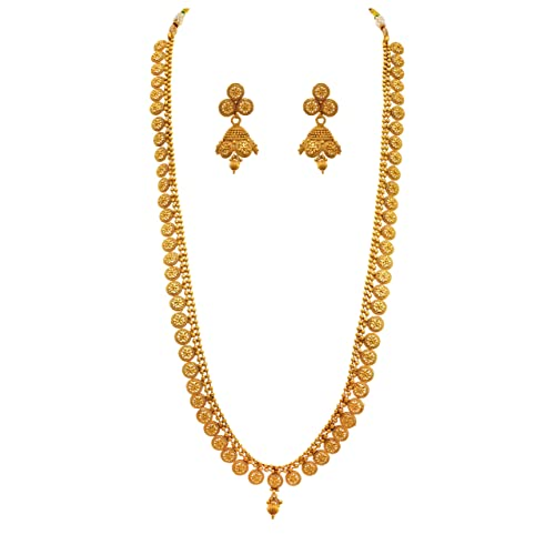 b87f4af9f5 Jfl - Jewellery For Less Traditional Ethnic One Gram Gold Plated Designer  Long Necklace Set With