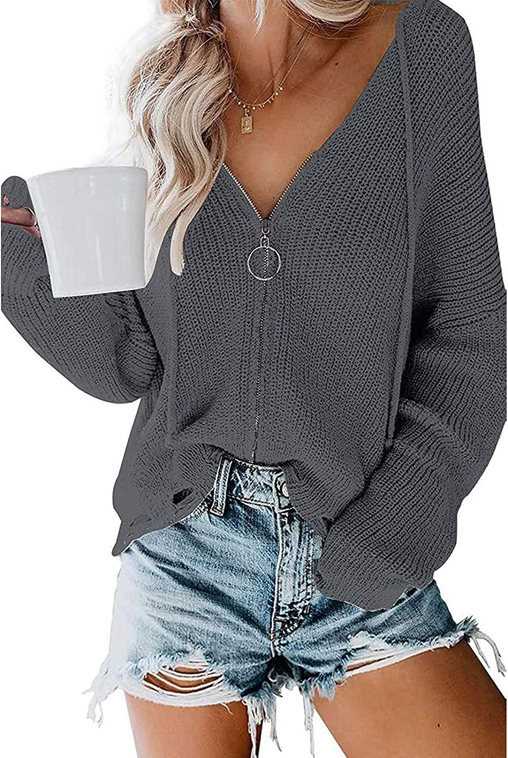 WYBAXZ Hooded Sweater for Women,Fall Long Sleeve Knited Zipper V-Neck Top Blouse,Casual Solid Women's Hoodie