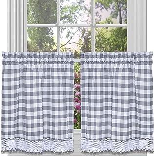 "Achim Home Furnishings Tier Pair Buffalo Check Window Curtain, 58"" x 24"", Grey & White"
