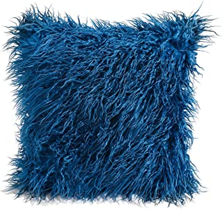 cool nik Soft Throw Pillow Cover Shaggy Fuzzy Fur Long Mangolian Faux Fur Cozy Elegant Chic Decorative Case 18 Inches Blue