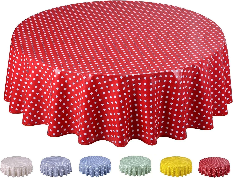 Home Direct Mantel de Hule, Redondo 160 cm Lunares pequeños Rojo