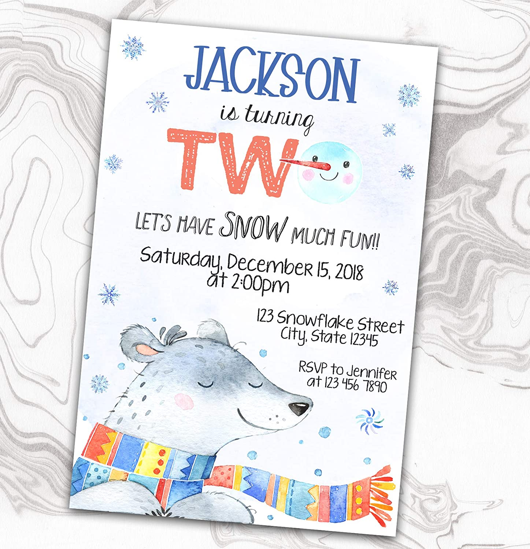 Winter Birthday Invitation - Polar Spasm Portland Mall price Snow Much Invite Fun Bear