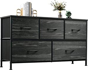 WLIVE Dresser with 5 Drawers, Dressers for Bedroom, Fabric Storage Tower, Hallway, Entryway, Closets, Sturdy Steel Frame, Wood Top, Easy Pull Handle, Grey Oak