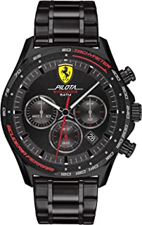 Scuderia Ferrari MEN'S BLACK DIAL IONIC PLATED BLACK STEEL WATCH - 830716 0830716