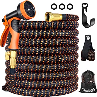 """TomCare Garden Hose 50ft Expandable Garden Hose Flexible Car Wash Water Hose with 9 Function Spray Nozzle Super Durable 3750D Latex Core 3/4"""" Solid Brass Fittings Retractable Hose for Washing Watering"""