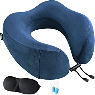 Veken Travel Pillow for Airplane Train Car, Memory Foam Foldable U Shaped Neck Chin Support, Included Sleeping Mask and Earplugs, Blue