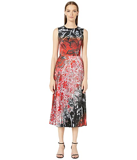 FUZZI Plisse Satin Dress in Degrade Print