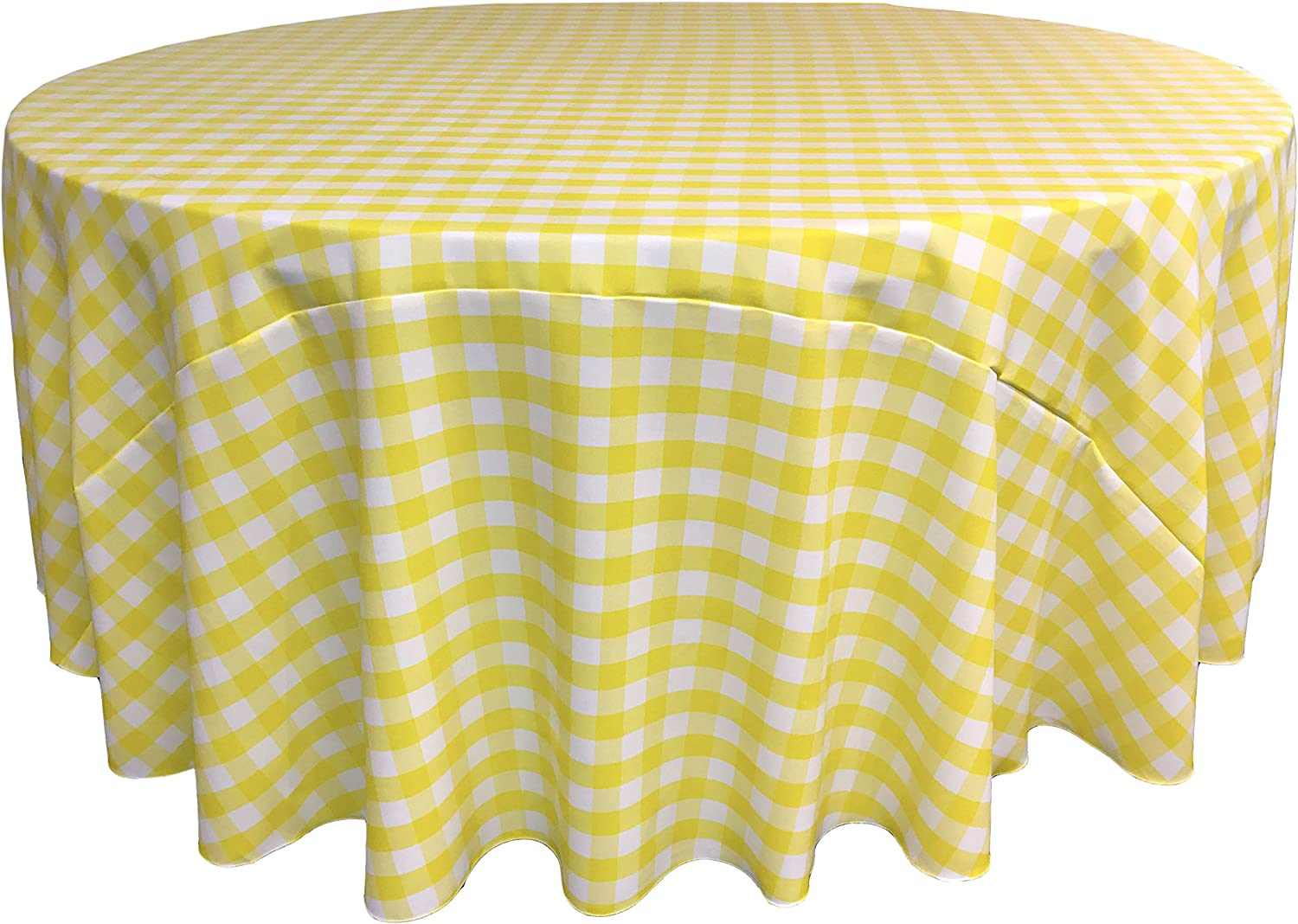 LA Linen Poly Checkered Round Tablecloth, 108-Inch, Light yellow White