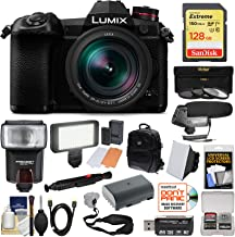 Panasonic Lumix DC-G9 4K Wi-Fi Digital Camera & 12-60mm f/2.8-4.0 Lens with 128GB Card + Battery + Backpack + Flash + LED Video Light + Microphone Kit